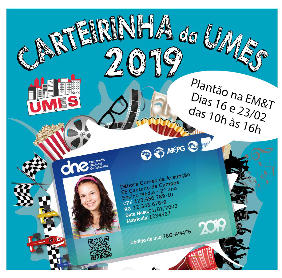 Carteirinha de estudante 2019 na EM&T.